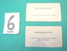 Gioco MONOPOLI vintage in lire 2 CARTE probabilità n. 6