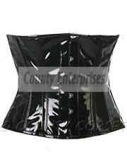 Cincher Shaper Taillen Waspie Full Steel Boned Waistbust Black PVC Vinyl Corset