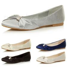 Para Mujer Damas Plana tarde Dama Boda nupcial Dolly Ballerina Zapatos Talla