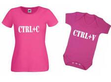 Día de Mother copiar y pegar hijo hija conjunto chaleco de bebé Camiseta Ctrl C V Geek