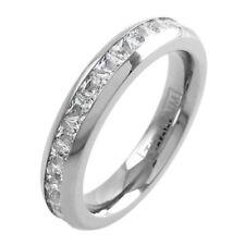 Titanium Princess Cut 2.32-4.80 Carat CZ Band Ring 3.75mm or 4.5mm Size 5-12
