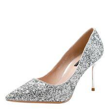 Women's Sequins Pumps High Heels Pointed Toe Wedding Bridal Bridesmaid Shoes