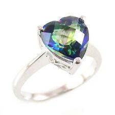 Genuine 2.6 ctw. Heart Mystic Blue Topaz SSilver Ring-Sz 8