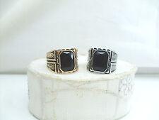 Anello Uomo Acciao Oro con Cristallo Nero Rettangolare,Mens-Edelstahl-Ring Gold