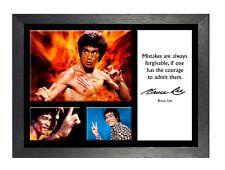 Bruce Lee 12 actor famoso ídolo cita Leyenda De Artes Marciales Kung Fu Firmado Póster
