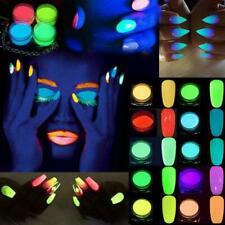 Nail Art Glow in the Dark UV Fluorescent Pigment Powder Acrylic Gel Polish UK