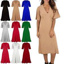 Womens Midi Dress Ladies Deep Plunge V Neck Ruched 3/4 Sleeve Flared Swing Dress