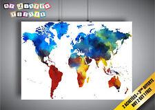 Poster Coloré Couleur Brosse Peint Carte Du Monde Terre art