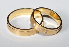 1 Paar Trauringe - Silber 925 vergoldet - Gelbgold 24 K - 5µ  - Inkl. Gravur !