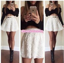 Sexy Women 2PC Crop Top &Skirt Set Cross Off Shoulder  Pleated Skirt Mini Dress