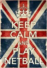 Kcv28 Vintage Union Jack Keep Calm Play Netball Funny cartel impresión a2/a3/a4