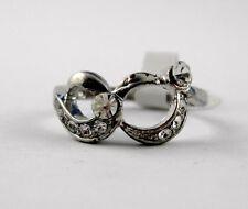 Glitzernder Ring Silber farben besetzt mit Strass Brillen Design (B59)