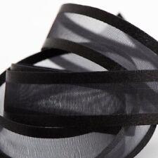 Black Satin Edged Organza Sheer Ribbon 10mm 15mm 25mm 38mm x 25m Italian Options