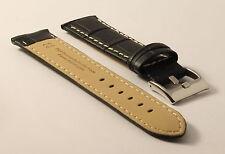 Orologi BRACCIALE-imitazioni-Nero-Cucitura Contrasto - 22mm-crocograin-BLACK-contraststitching