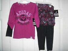 ADIDAS NWT Girls 2PC Top Pants Scooter Skirt Skort Swirl Purple 4 4T 5 6 6X
