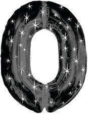 96.5cm negro y plateado DESTELLOS Negro megaloon METALIZADO Número Forma Globo