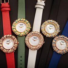 Women's Burgi BUR255 Crystal Flower Brass Bezel Satin on Leather Strap Watch