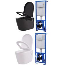 vidaXL Toilette Suspendue avec Réservoir Caché Cuvette WC Céramique Blanc/Noir