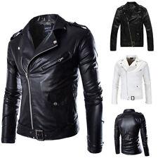 Men British Style PU Leather Jacket Slim Biker Motorcycle Jacket Vintage Outwear