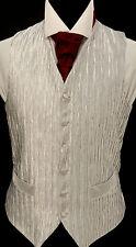 "W-86a. Boy's silver ""Ruffle"" bark effect waistcoat - wedding, dress, suit, party"
