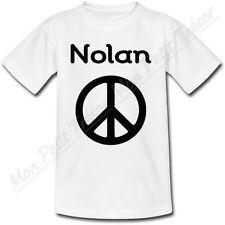 T-shirt Enfant Peace and Love avec Prénom Personnalisé