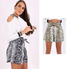 New Womens Snake Print Tie Up Belt High Waist Ladies Shorts Skirt Skort 6-12 UK