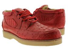Men's El Presidente Red Genuine Crocodile Ostrich Skin Casual Exotic Shoes