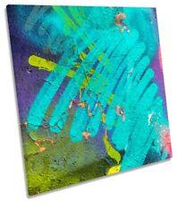 Turquoise Graffiti Urban Framed CANVAS PRINT Square Wall Art