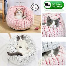 Pet Calming Bed Dog Cat Fur Donut Cuddler Dog Beds Soft Warmer Comfortable US