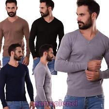 Maglione uomo pullover maglia scollo V maniche lunghe elasticizzato nuovo 5238