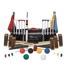 6 Player Croquet Set - Championship Adult Size Mallets Garden Set