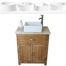 Bathroom Vanity Unit Oak Cabinet Wash Stand Travertine & White Ceramic Basin 502