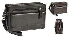 Wrist Leather Bag Black Brown Double Zip Top Clutch Mobile Money Cab Travel Bag