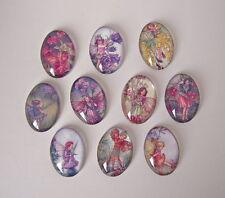 10 Flower Fairies vetro i Cabochon Ovale 25 mm x 18 mm Artigianato Gioielli Making