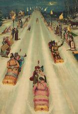 Snowy night family fun. Vermont Toboggans. Victorian advertising art notecards.