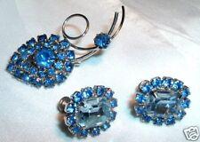 VINTAGE SAPPHIRE BLUE RHINESTONE PIN & EARRINGS SET HOT
