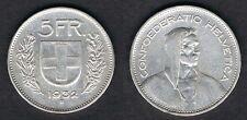 Franco Plata Suiza 5 monedas de 1931 - 1969 elección de monedas en la cartera