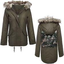 New Ladies Fur Hood Camouflage Sequin Detail Khaki Parka jackets Coats 8-16