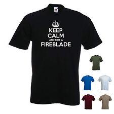 'Keep Calm and Ride a Fireblade' Honda Motorbike men's T-shirt Tee