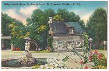 OLDEST SCHOOL HOUSE St. George Street St. AUGUSTINE Florida LINEN POSTCARD