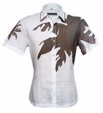 Cortigiani Men's White Linen Short Sleeve Shirt with Brown applique Slim Fit