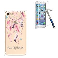 Pour iPhone 5 / 6 / 7 Étui transparent en silicone motif créatif + verre trempé