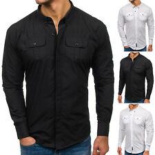 BOLF Hombre Camisa Manga Larga Ajustado Clásico Slim Fit Casual 2B2 Elegante