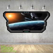 SPACE WALL STICKER WINDOW 3D LOOK - MOON PLANET GALAXY STARS BOYS BEDROOM Z368