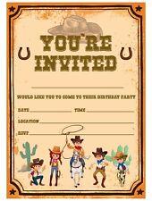 WESTERN PARTY INVITATIONS INVITES CHILDREN GIRLS BOYS COWBOY THEME PARTY INVITE