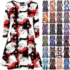 Womens Ladies Xmas Long Sleeve Santa Gift Tree Christmas Swing Flared Mini Dress