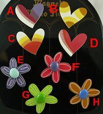 LOVE HEART/FLOWER SHAPED FANCY GLOSS COATED RESIN FRIDGE  MAGNET 61012/61011  0A