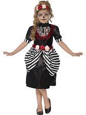 Sugar Skull Day of Dead Girls Childs Kids Halloween Fancy Dress Costume 4-12