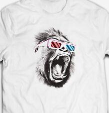 FUNNY 3D GORILLA GLASSES APE MONKEY ANIMAL NATURE 100% cotton T.V. T-shirt Tee