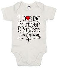 "GRACIOSO Body de bebé ""I LOVE MY BROTHER & HERMANAS This Much"" Body HERMANOS"